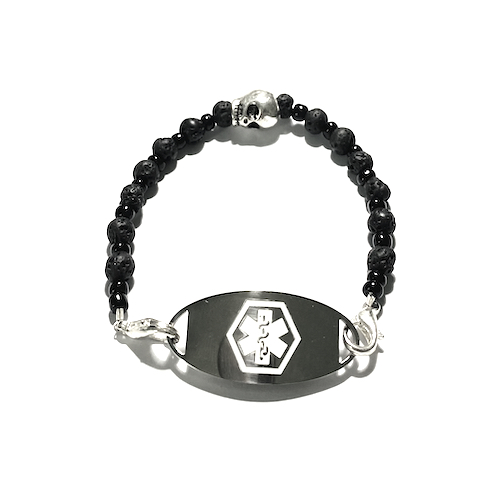 Get your lightweight BLACK LAVA SKULL ICE ID with black lava and seed beads and stainless steel clasps today!