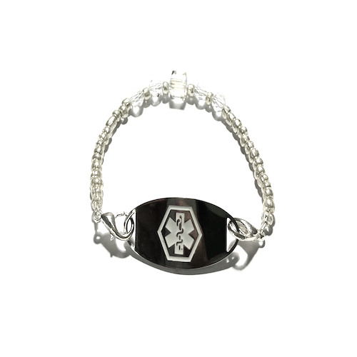 This medical grade stainless steel CLEAR WATER CRYSTAL ICE ID bracelet features a white medical logo and is available in two sizes.