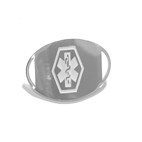 This REPLACEMENT TAG MEDI PLAIN SILVER displays the Medical Alert logo on the front and is complete with laser engraving on the back.