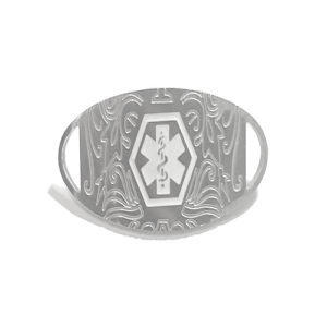 This REPLACEMENT TAG MEDI SILVER FILIGREE displays the Medical Alert logo on the front and is laser engraved on the back.