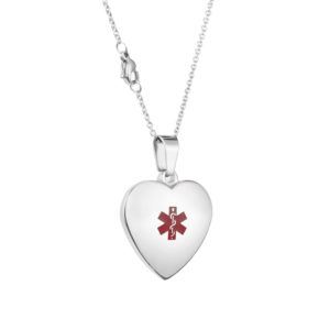 MEDICAL ALERT - HEART PENDANT - STAINLESS STEEL