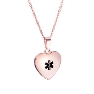 MEDICAL ALERT - HEART PENDANT - ROSE GOLD PLATED