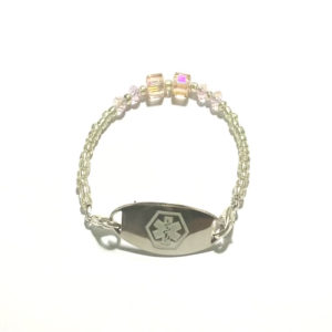 ROSE WATER CRYSTAL ICE ID with Swarovski Crystal Rose Cubes, Czech Crystal Rondelle and Silver beads. Order yours today!