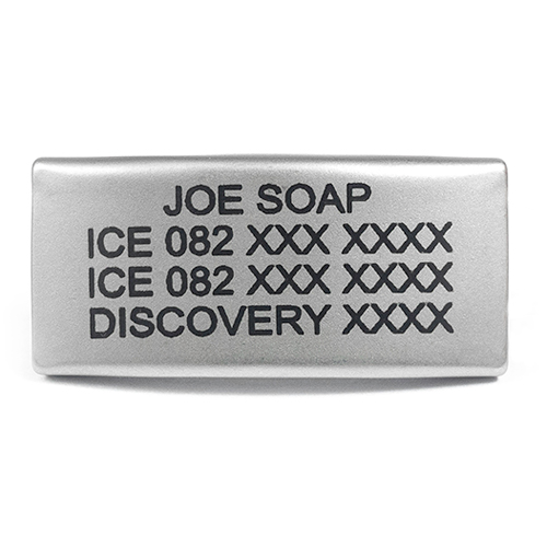 The stainless steel REPLACEMENT TAG FOR THIN SILICONE is laser engraved with up to 4 lines of personalized text for all your ICEinformation.